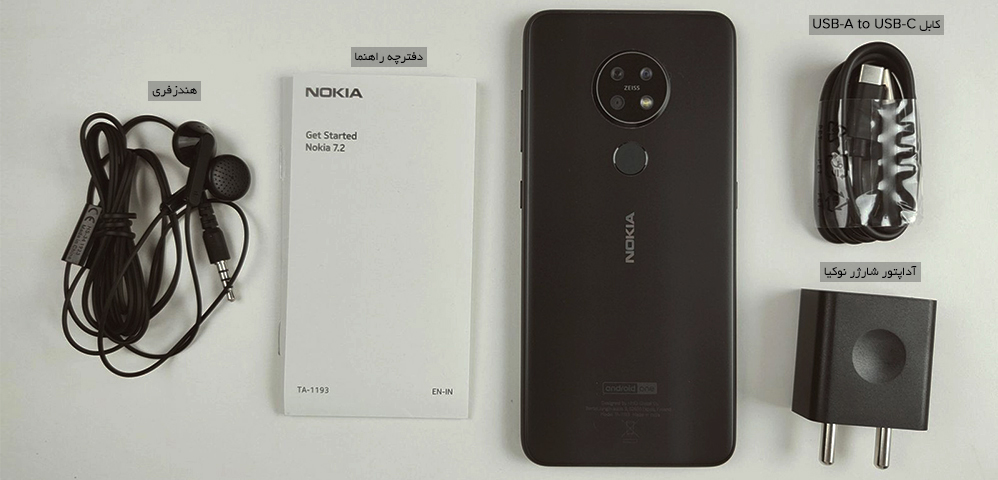 محتویات جعبه گوشی nokia 7.2